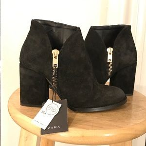 NWT Zara Black Suede Booties with gold zipper